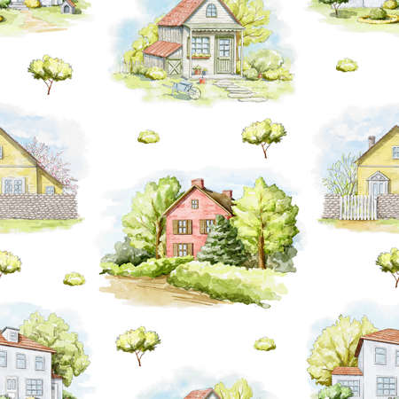 Seamless pattern with summer country houses, lawns and trees isolated on white background. Watercolor hand drawn illustration