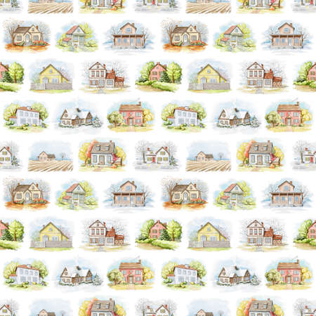 Seamless pattern with varied country houses, lawns and trees isolated on white background. Watercolor hand drawn illustration Imagens