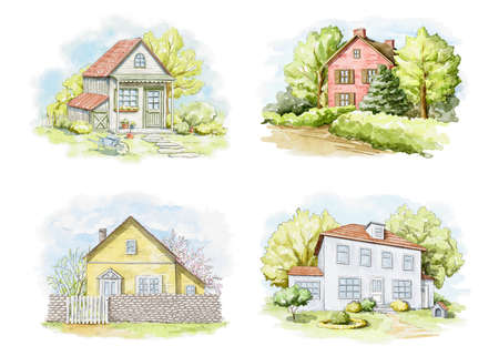 Set with summer landscape with country houses and trees isolated on white background. Watercolor hand drawn illustration Imagens