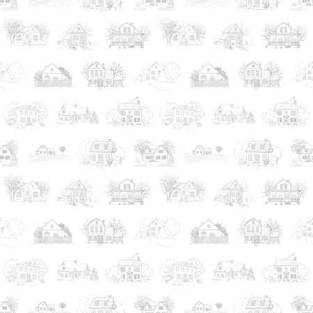 Seamless pattern with landscape, country houses and trees isolated on white background. Graphic outline sketch illustration