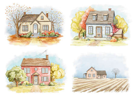 Set with autumn landscape with country houses and trees isolated on white background. Watercolor hand drawn illustration Imagens