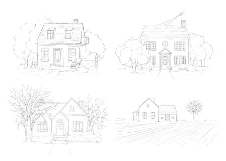 Set with autumn landscape with country houses and trees isolated on white background. Graphic outline sketch illustration