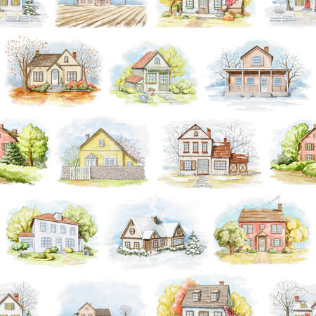 Seamless pattern with varied country houses, lawns and trees isolated on white background. Watercolor hand drawn illustration 版權商用圖片