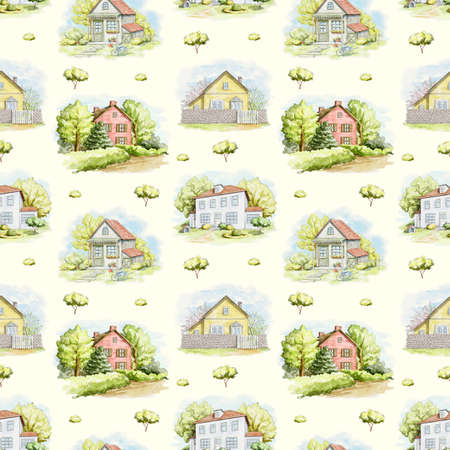 Seamless pattern with summer country houses, lawns and trees isolated on yellow background. Watercolor hand drawn illustration 版權商用圖片