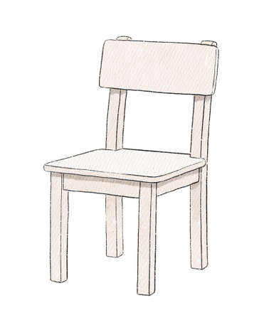Watercolor cute cartoon childish chair isolated on white background. Watercolor hand drawn illustration sketch