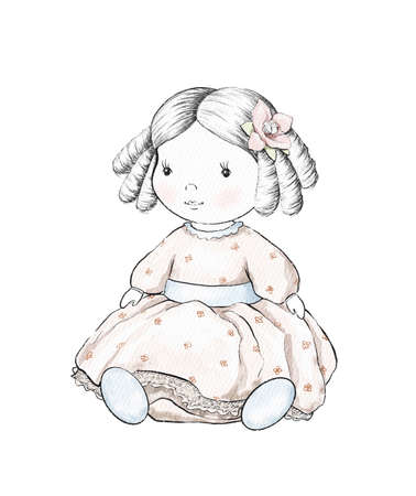 Watercolor cute cartoon doll in pink dress isolated on white background. Watercolor hand drawn illustration sketch
