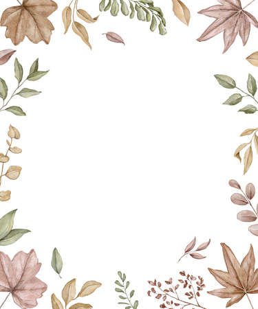 Rectangular frame with autumn varied leaves and plants isolated on white background. Watercolor hand drawn illustration