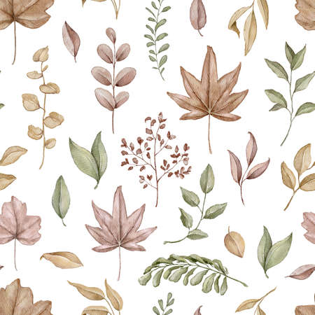 Seamless pattern with autumn varied leaves and plants isolated on white background. Watercolor hand drawn illustration