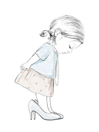 Watercolor cute cartoon baby girl trying on mom's big shoes isolated on white background. Watercolor hand drawn illustration sketch Archivio Fotografico