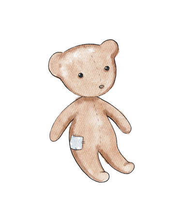 Watercolor cute cartoon brown teddy bear toy isolated on white background. Watercolor hand drawn illustration sketch