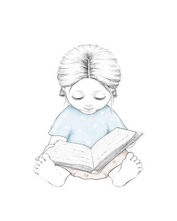 Watercolor cute cartoon baby girl reading book isolated on white background. Watercolor hand drawn illustration sketch