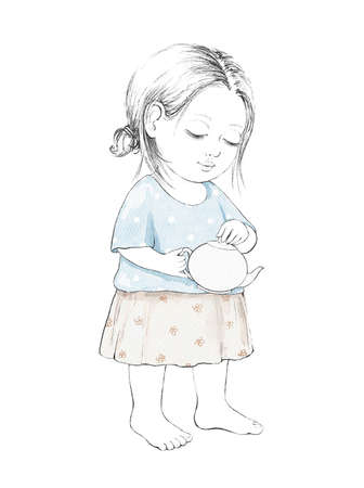 Watercolor cute cartoon baby girl holding ceramic teapot isolated on white background. Watercolor hand drawn illustration sketch