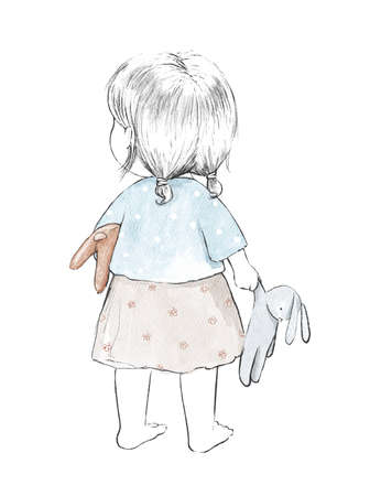 Watercolor cute cartoon baby girl with toys isolated on white background. Watercolor hand drawn illustration sketch