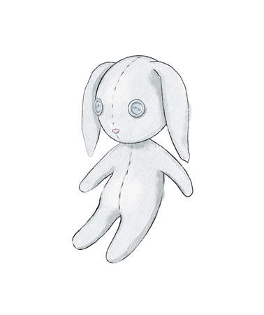 Watercolor cute cartoon gray bunny rabbit toy isolated on white background. Watercolor hand drawn illustration sketch