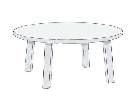 Watercolor cute cartoon childish round table isolated on white background. Watercolor hand drawn illustration sketch