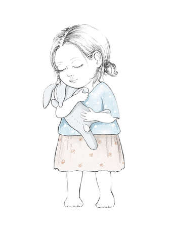 Watercolor cute cartoon baby girl with toy hare isolated on white background. Watercolor hand drawn illustration sketch