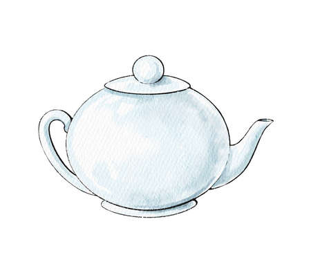 Watercolor cute cartoon white ceramic teapot isolated on white background. Watercolor hand drawn illustration sketch