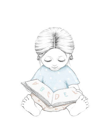 Watercolor cute cartoon baby girl reading alphabet in book isolated on white background. Watercolor hand drawn illustration sketch