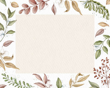 Rectangular frame with autumn varied leaves, plants and texture. Watercolor hand drawn illustration Imagens