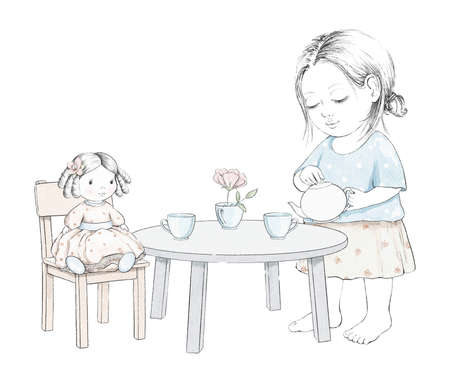 Watercolor tea party composition with cartoon baby girl, doll, dishes and furniture isolated on white background. Watercolor hand drawn illustration sketch