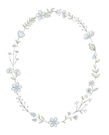 Oval frame with varied simple small flowers, plants and leaves isolated on white background. Watercolor hand drawn illustration