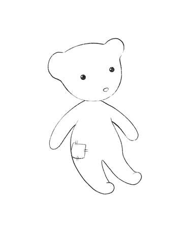 Linear cute sketch with cartoon teddy bear toy isolated on white background. Graphic hand drawn illustration sketch Imagens