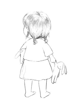 Linear cute sketch with cartoon baby girl and toys isolated on white background. Graphic hand drawn illustration sketch