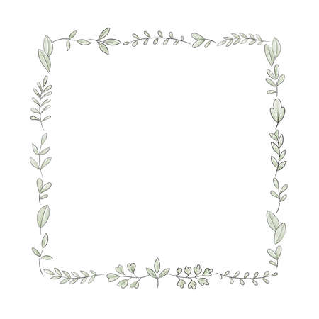 Square frame with varied simple small leaves and twigs isolated on white background. Watercolor hand drawn illustration Imagens