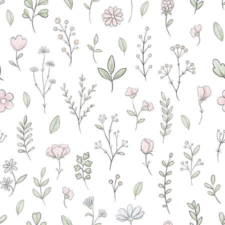 Seamless pattern with varied simple small pink flowers, plants and leaves isolated on white background. Watercolor hand drawn illustration