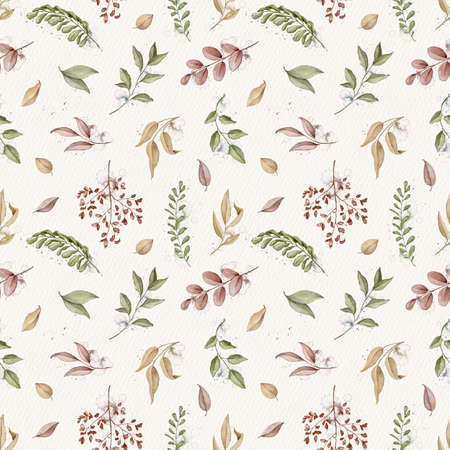 Seamless pattern with autumn varied leaves and plants on beige paper background. Watercolor hand drawn illustration