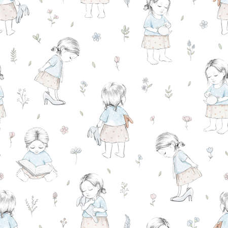 Seamless pattern with varied cartoon flowers, baby girl and toys isolated on white background. Watercolor hand drawn illustration