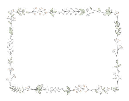 Rectangle frame with varied simple small leaves and berries isolated on white background. Watercolor hand drawn illustration Imagens