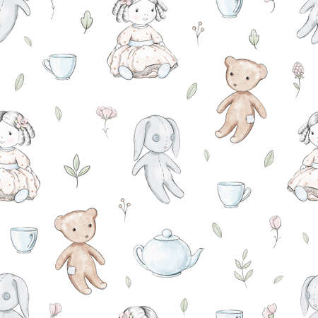 Seamless pattern with varied flowers, cartoon doll, bear, bunny and dishes isolated on white background. Watercolor hand drawn illustration Imagens