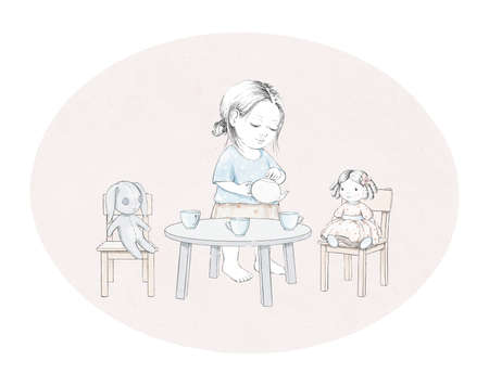 Watercolor tea party composition with cartoon baby girl, bunny, doll, dishes and furniture on oval pink background. Watercolor hand drawn illustration sketch