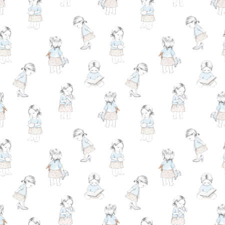 Seamless pattern with varied cartoon baby girl and toys isolated on white background. Watercolor hand drawn illustration