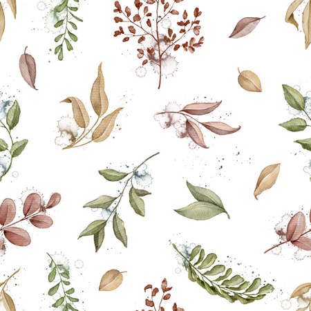 Seamless pattern with autumn varied leaves and plants isolated on white paper background. Watercolor hand drawn illustration Imagens