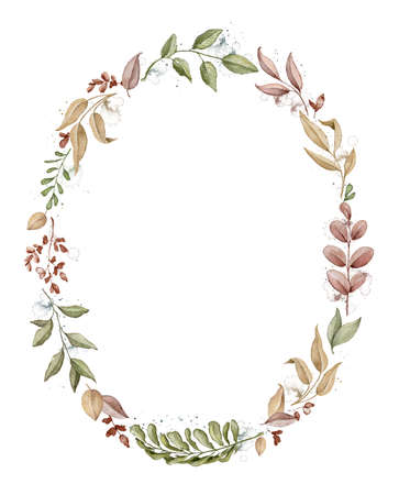Oval frame with autumn varied leaves and plants isolated on white background. Watercolor hand drawn illustration