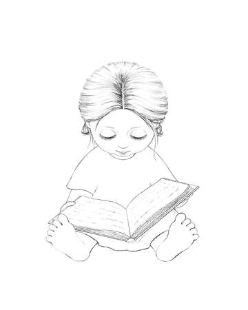 Linear cute sketch cartoon baby girl reading book isolated on white background. Graphic hand drawn illustration sketch Imagens