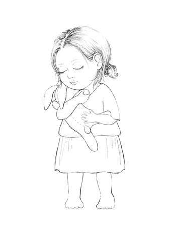 Linear cute sketch cartoon baby girl with toy hare isolated on white background. Graphic hand drawn illustration sketch