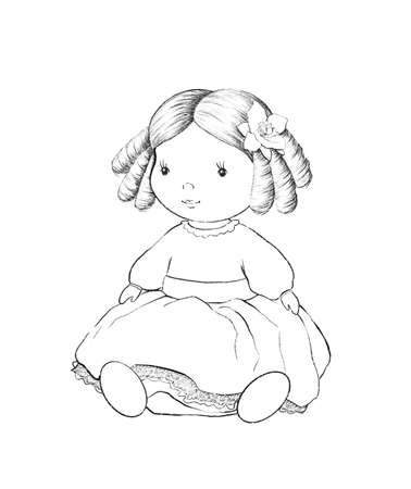 Linear cute sketch cartoon doll in dress isolated on white background. Graphic hand drawn illustration sketch