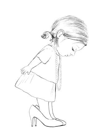 Linear cute sketch cartoon baby girl trying on mom's big shoes isolated on white background. Graphic hand drawn illustration sketch Imagens