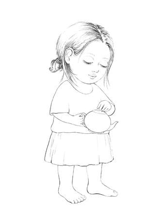 Linear cute sketch cartoon baby girl holding teapot isolated on white background. Graphic hand drawn illustration sketch