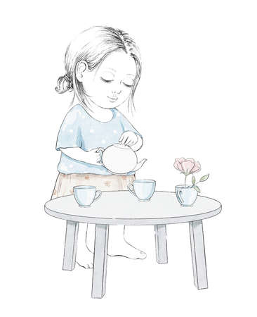 Watercolor tea party composition with cartoon baby girl pouring tea, dishes and furniture isolated on white background. Watercolor hand drawn illustration sketch