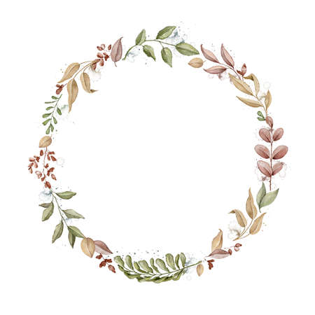 Round frame with autumn varied leaves and plants isolated on white background. Watercolor hand drawn illustration Imagens
