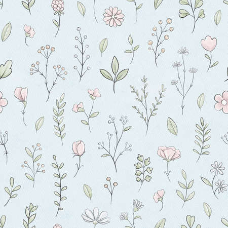 Seamless pattern with varied simple small pink flowers, plants and leaves on blue paper background texture. Watercolor hand drawn illustration