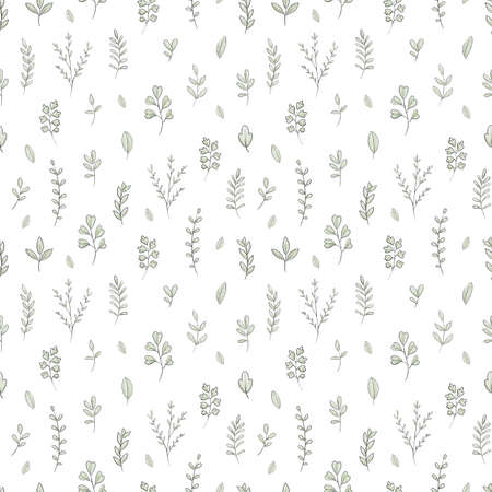 Seamless pattern with varied simple small plants and leaves isolated on white background. Watercolor hand drawn illustration