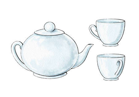 Watercolor cute cartoon set with ceramic teapot and cups isolated on white background. Watercolor hand drawn illustration sketch 版權商用圖片