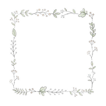 Square frame with varied simple small leaves and berries isolated on white background. Watercolor hand drawn illustration