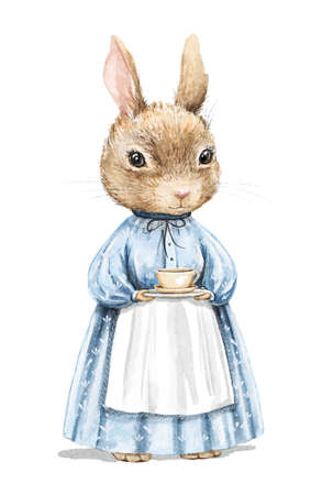 Watercolor vintage girl bunny rabbit in blue dress holding saucer and cup of tea isolated on white background. Watercolor hand drawn illustration sketch 版權商用圖片