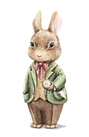 Watercolor vintage boy bunny rabbit in suit holding gold pocket watch isolated on white background. Watercolor hand drawn illustration sketch 版權商用圖片